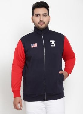 Men Navy Blue & Red Colourblocked Sweatshirt