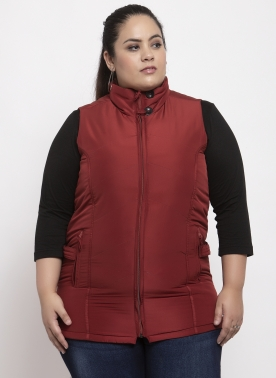 Women Maroon Solid jacket