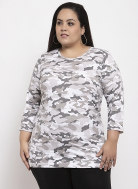 Women White Camouflage Printed Top