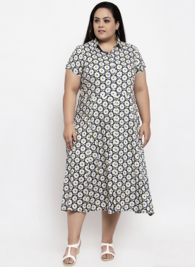 Women Navy Blue Printed Shirt Dress
