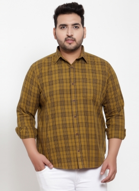 Men Mustard Yellow Regular Fit Checked Casual Shirt