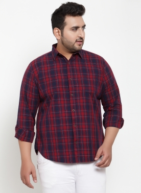 Men Red & Navy Blue Regular Fit Checked Casual Shirt