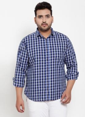 Men Blue Regular Fit Checked Casual Shirt
