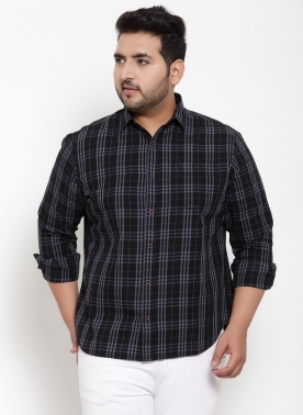 Men Black Regular Fit Checked Casual Shirt