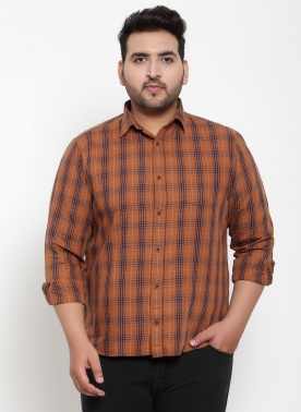 Men Rust & Blue Regular Fit Checked Casual Shirt