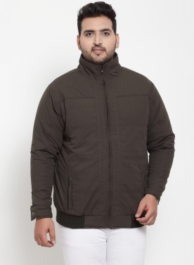 Men Brown Solid Padded Jacket