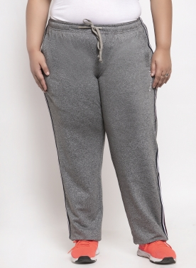 Women Grey Solid Straight Fit Track Pants