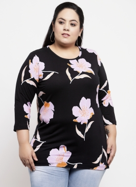 Women Black Floral Printed Longline Top