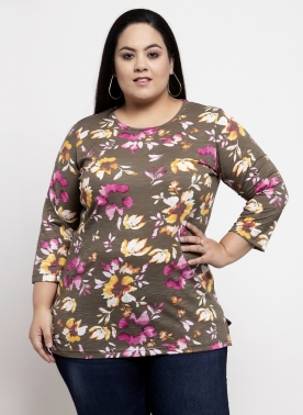 Women Brown Floral Printed Top