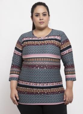 Women Plus Size Multicoloured Printed Top