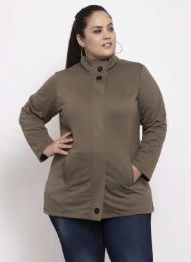 Women Khaki Solid Tailored Jacket