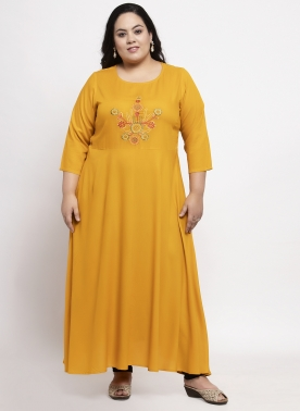 Women Mustard Embroidered Anarkali Kurta