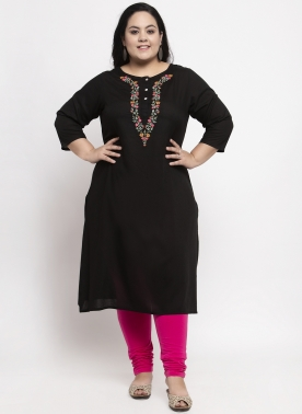 Women Black Yoke Design Straight Kurta