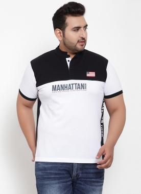 Men White Colourblocked Henley Neck T-shirt
