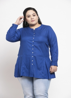 Women Blue Solid A-Line Top