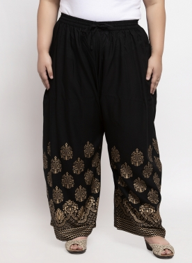 Women Black & Gold-Coloured Ethnic Motifs Printed Straight Fit Palazzos