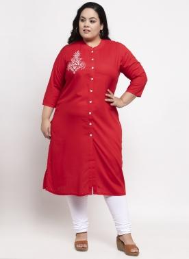 Women Red Embroidered Straight Kurta