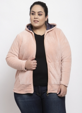 Women Pink Solid Hooded Jacket