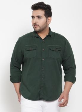 Men Olive Green Regular Fit Solid Casual Shirt