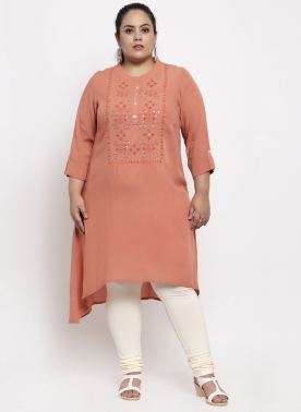 Women Pink Yoke Design Straight Kurta