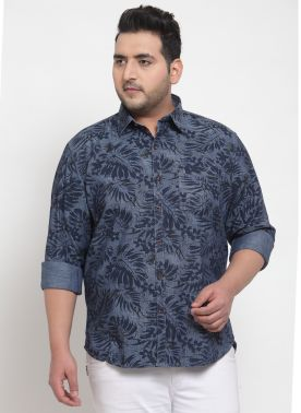 Men Blue & Navy Blue Camouflage Print Casual Shirt