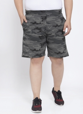 Men Grey & Black Printed Regular Fit Regular Shorts
