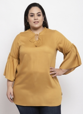 Women Mustard Solid Top