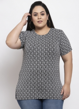 Women Black Printed Round Neck T-shirt