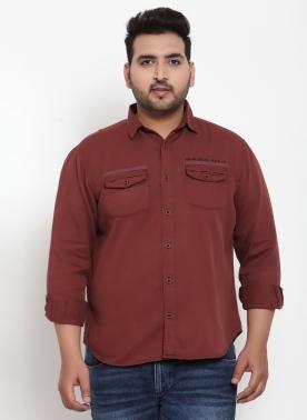 Men Maroon Regular Fit Solid Casual Shirt