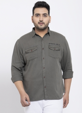 Men Grey Regular Fit Solid Casual Shirt