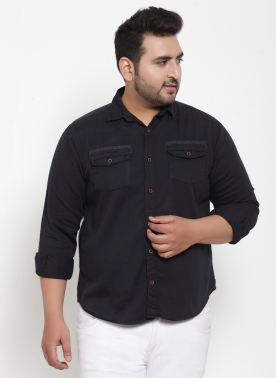 Men Navy Blue Regular Fit Solid Casual Shirt