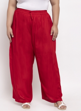 Women Red Solid Flared Palazzos