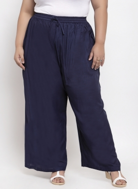 Women Navy Blue Solid Straight Palazzos