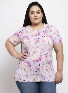 Women Multicoloured Floral Print T-shirt
