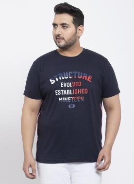 Men Navy Blue Printed Round Neck T-shirt