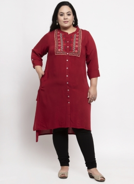 Maroon Kurti with Neck embriodery and front button