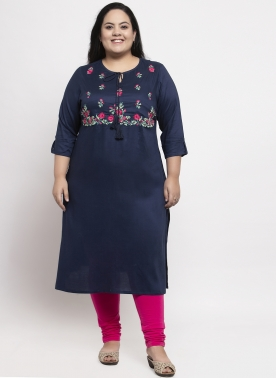 Women Navy Blue Yoke Design A-Line Kurta