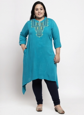 Women Navy Blue Embroidered A-Line Kurta