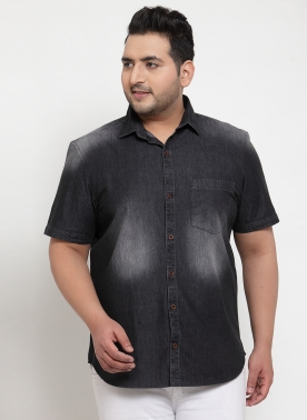 Men Black Faded Casual Shirt