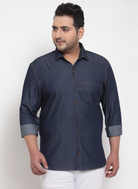 Men Blue Regular Fit  Denim Casual Shirt