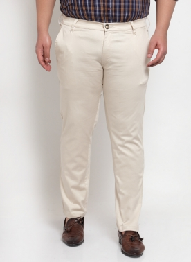 Men Beige Regular Fit Solid Chinos