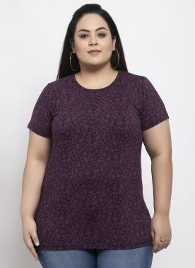Women Brown Printed Round Neck T-shirt