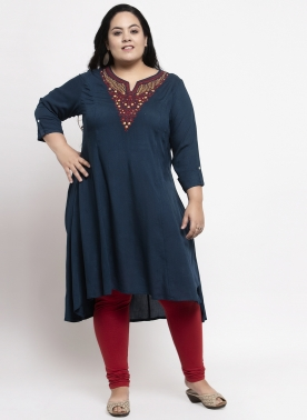 Women Navy Blue & Red Embroidered Straight Kurta