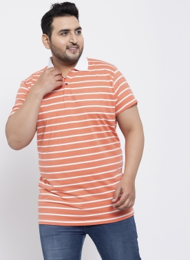 Men Red Striped Polo Collar T-shirt