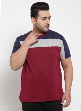 Men Burgundy Round Neck T-shirt