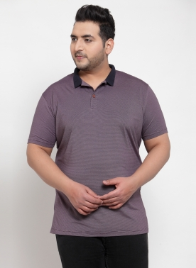 Men Purple Striped Polo Collar T-shirt