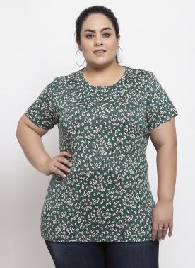Women Green Self Design Round Neck T-shirt