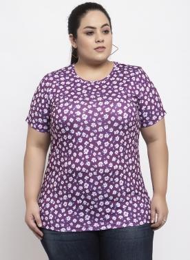 Women Pink & Purple Printed Round Neck T-shirt