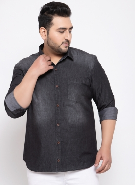 Men Black Regular Fit Solid Casual Denim Shirt