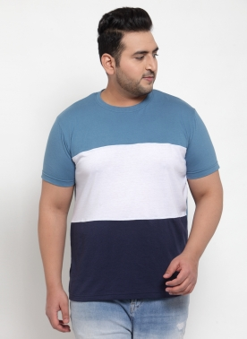 Men Blue Colourblocked Round Neck T-shirt